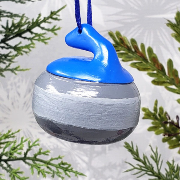 Curling Rock Christmas Ornament Winter Sports Holiday Decoration Car Mirror Charm